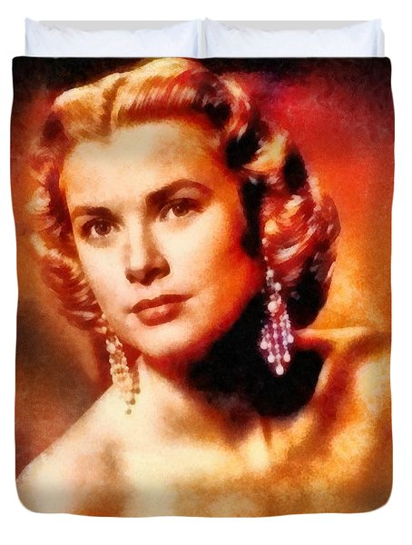 Grace Kelly, Vintage Hollywood Actress Duvet Cover by Frank Falcon