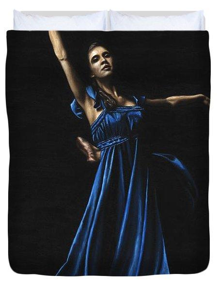 Graceful Dancer In Blue Duvet Cover