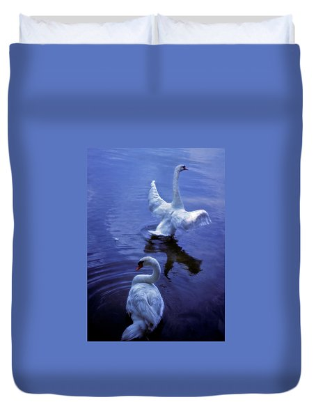 Graceful Swans Duvet Cover by Marie Hicks