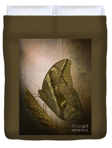 Duvet Cover featuring the photograph Graffic Owl Butterfly by Inge Riis McDonald
