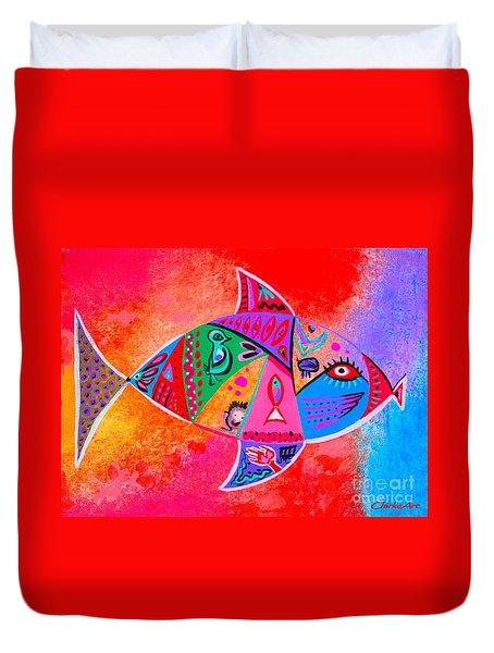 Graffiti Fish Duvet Cover