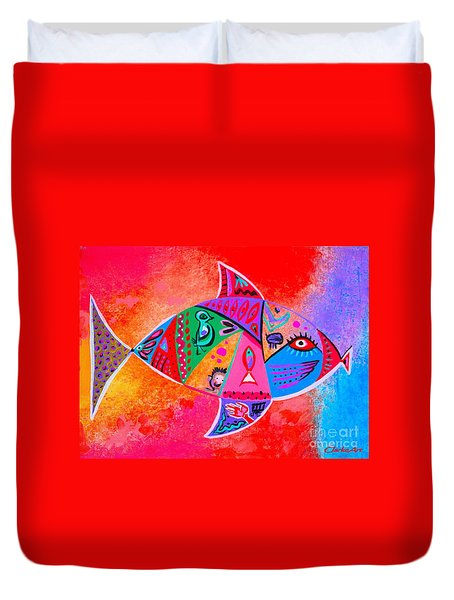 Graffiti Fish Duvet Cover