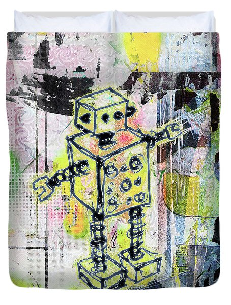 Graffiti Graphic Robot Duvet Cover