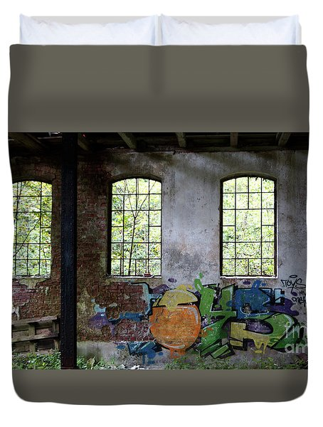 Graffiti On The Walls Of An Old Factory  Duvet Cover