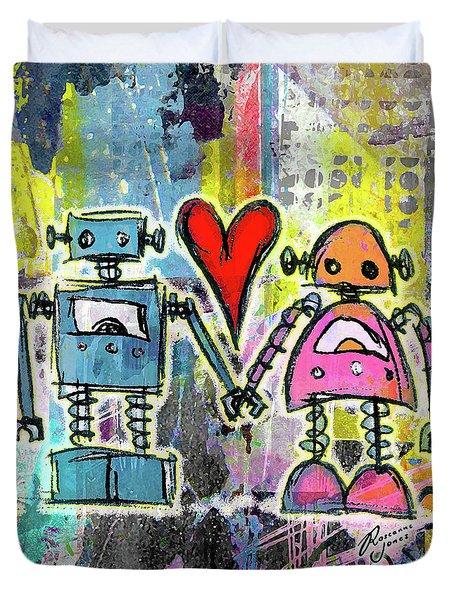 Graffiti Pop Robot Love Duvet Cover