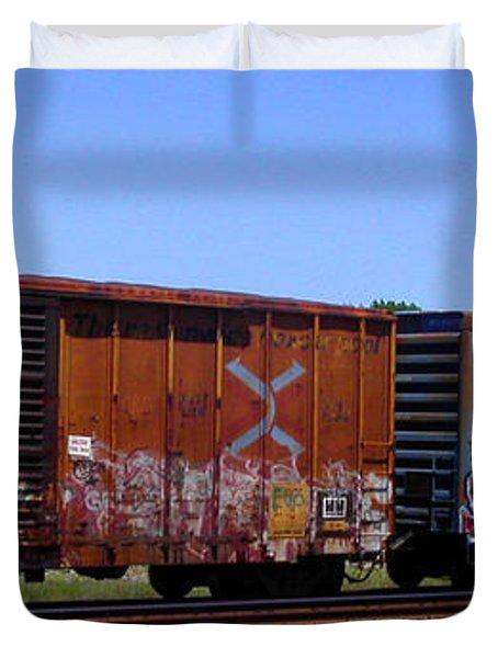 Graffiti Train With Billboard Duvet Cover