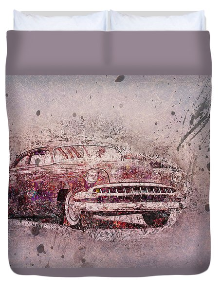 Duvet Cover featuring the photograph Graffiti Merc by Joel Witmeyer
