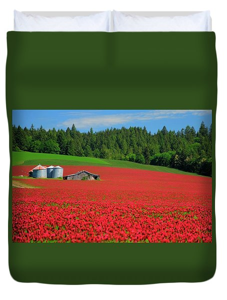 Grain Bins Barn Red Clover Duvet Cover