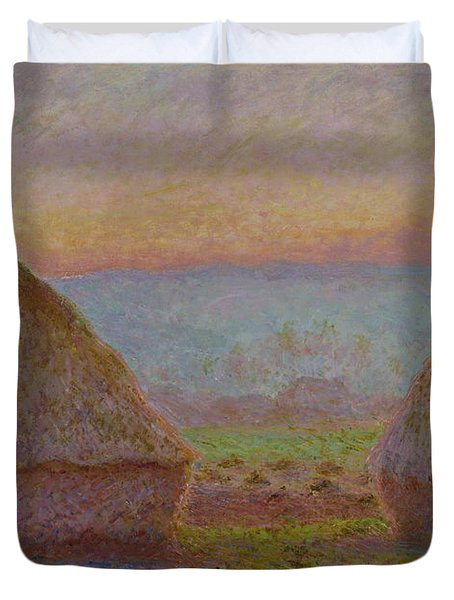 Grainstacks At Giverny The Evening Sun 1888 1889 Duvet Cover