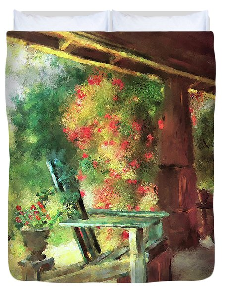 Duvet Cover featuring the digital art Gramma's Front Porch by Lois Bryan