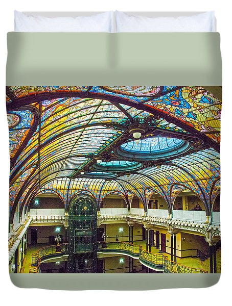 Duvet Cover featuring the photograph Gran Hotel Art by John Bartosik