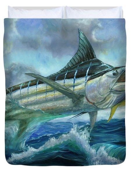 Grand Blue Marlin Jumping Eating Mahi Mahi Duvet Cover