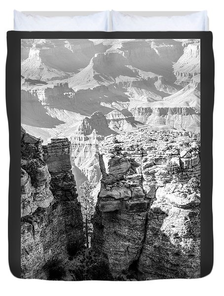 Duvet Cover featuring the photograph Grand Canyon Bw Impression by Juergen Klust