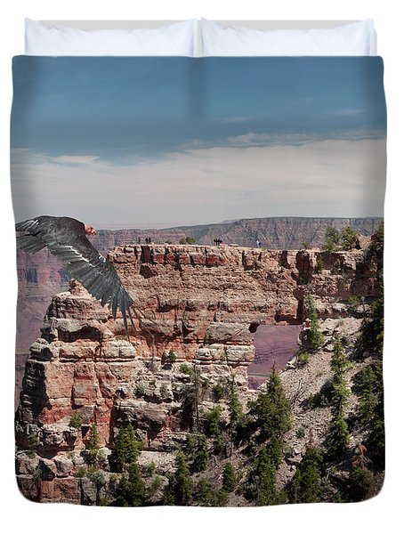 Duvet Cover featuring the photograph Grand Canyon Condor by Daniel Hebard