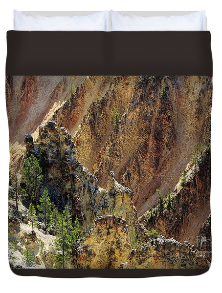 Grand Canyon Of The Yellowstone From North Rim Drive Duvet Cover by Louise Heusinkveld