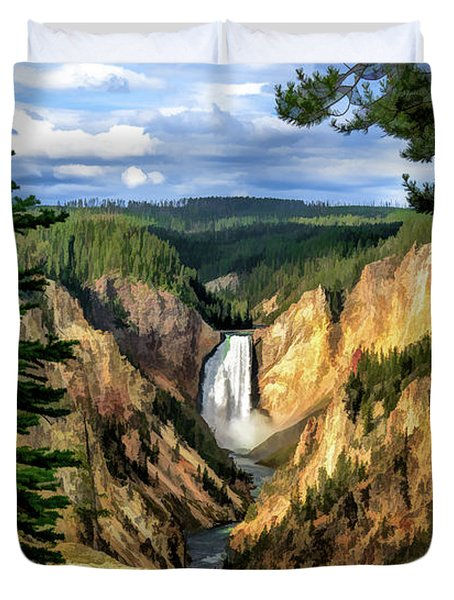 Grand Canyon Of The Yellowstone Waterfall Duvet Cover
