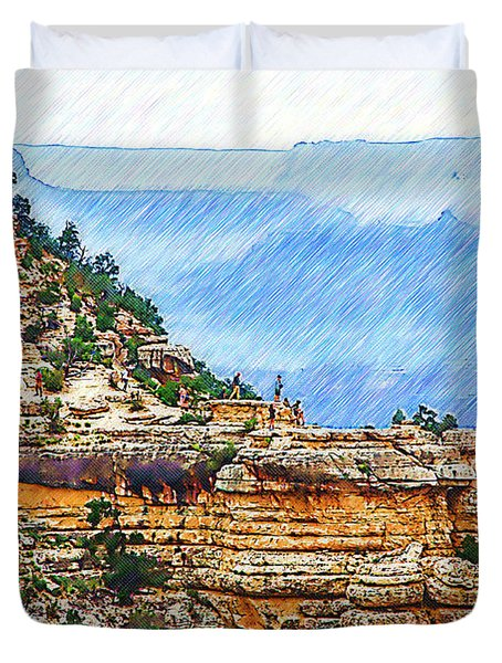 Grand Canyon Overlook Sketched Duvet Cover