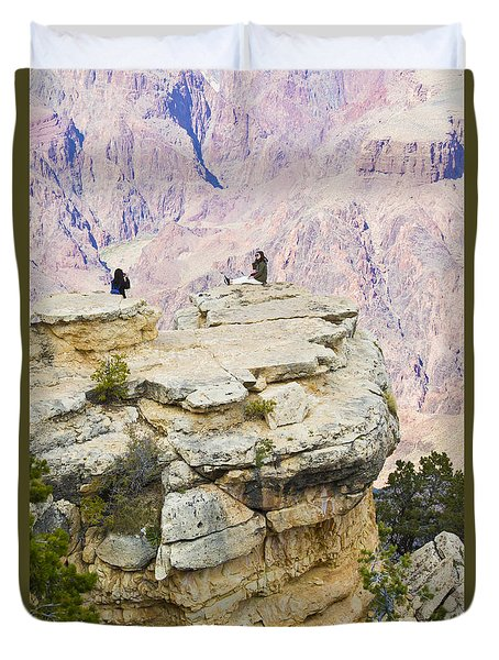 Duvet Cover featuring the photograph Grand Canyon Photo Op by Chris Dutton