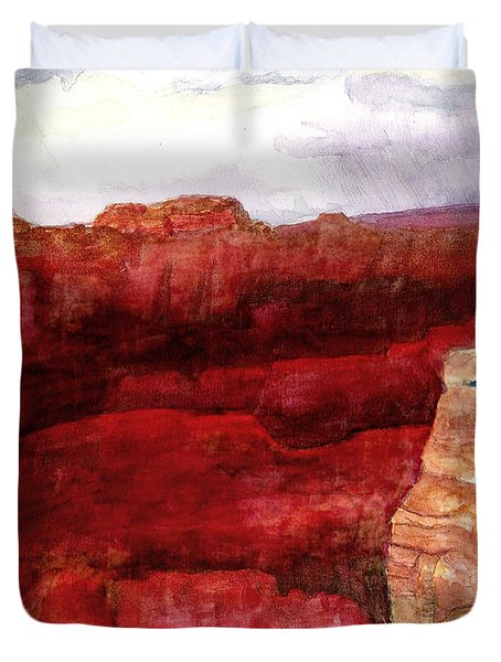 Grand Canyon S Rim Duvet Cover by Eric Samuelson