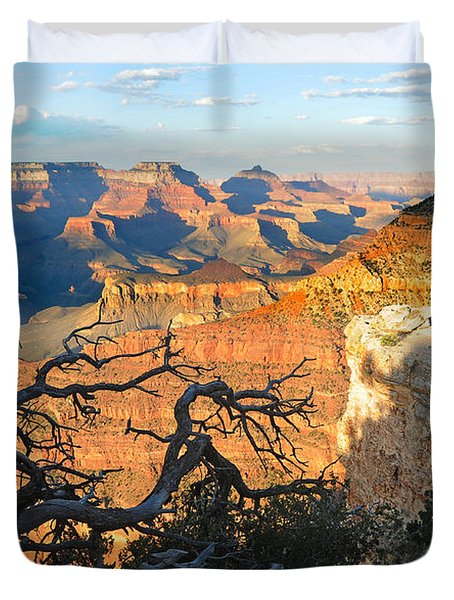Grand Canyon South Rim - Sunset Through Trees Duvet Cover
