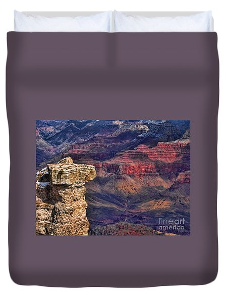 Duvet Cover featuring the photograph Grand Canyon Stacked Rock by Roberta Byram