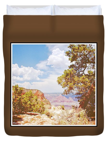 Grand Canyon View With Pine Tree Duvet Cover