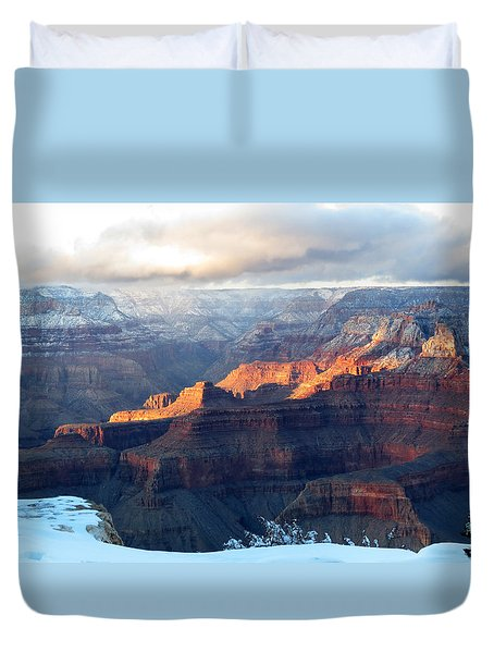 Grand Canyon With Snow Duvet Cover by Laurel Powell