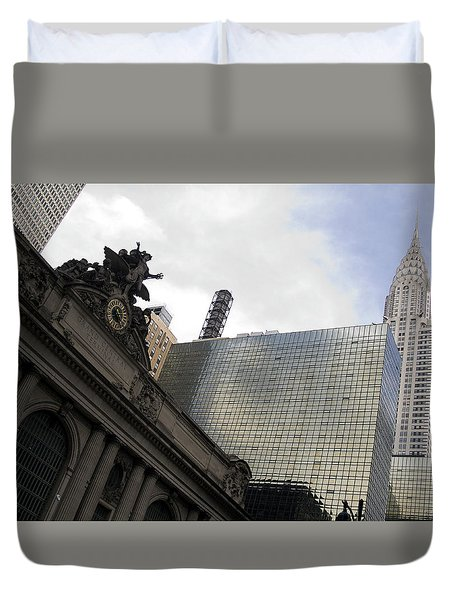 Grand Central And The Chrysler Building Duvet Cover by Michael Dorn