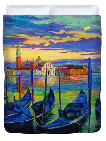Duvet Cover featuring the painting Grand Finale In Venice by Chris Brandley