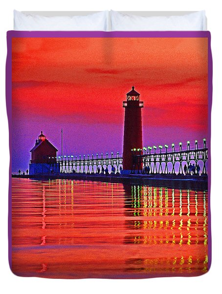 Grand Haven Lighthouse Duvet Cover by Dennis Cox