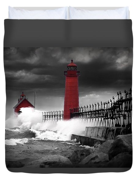 Grand Haven Lighthouse In A Rain Storm Duvet Cover
