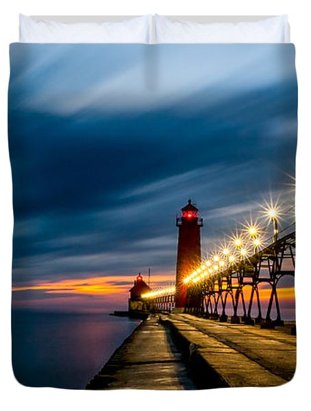 Grand Haven Lighthouse Duvet Cover