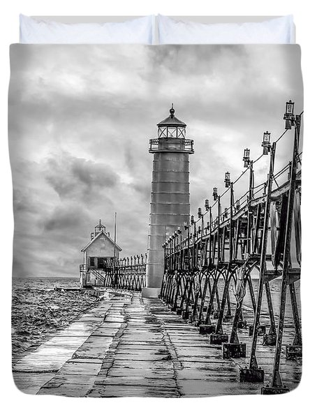 Grand Haven Lighthouse - Monochome Duvet Cover