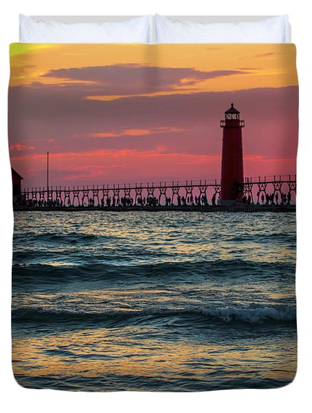 Grand Haven Pier Sail Duvet Cover by Pat Cook