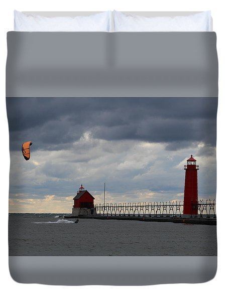 Grand Haven Wind Surfing Duvet Cover