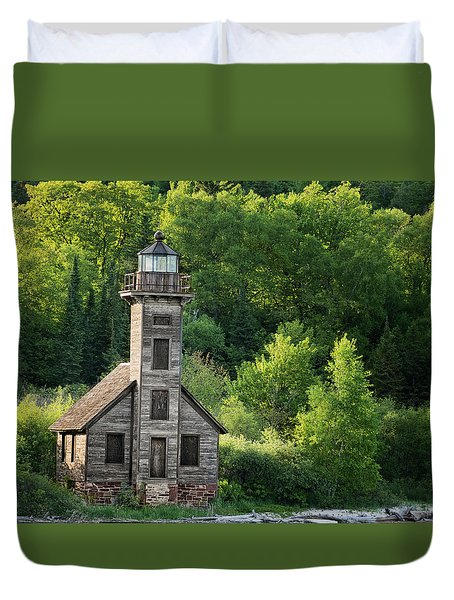 Grand Island Light House In Spring Duvet Cover