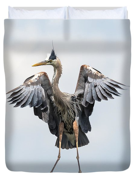 Duvet Cover featuring the photograph Grand Jete' Heron Move by Stephen  Johnson