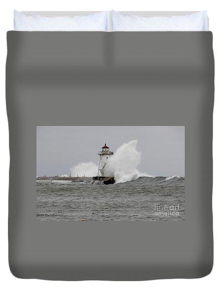 Grand Marais Lighthouse Duvet Cover by Sandra Updyke