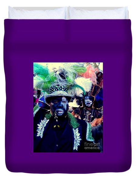 Grand Marshall Of The Zulu Parade Mardi Gras 2016 In New Orleans Duvet Cover by Michael Hoard