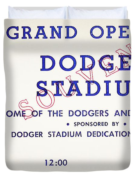 Grand Opening Dodger Stadium Ticket Stub 1962 Duvet Cover by Bill Cannon