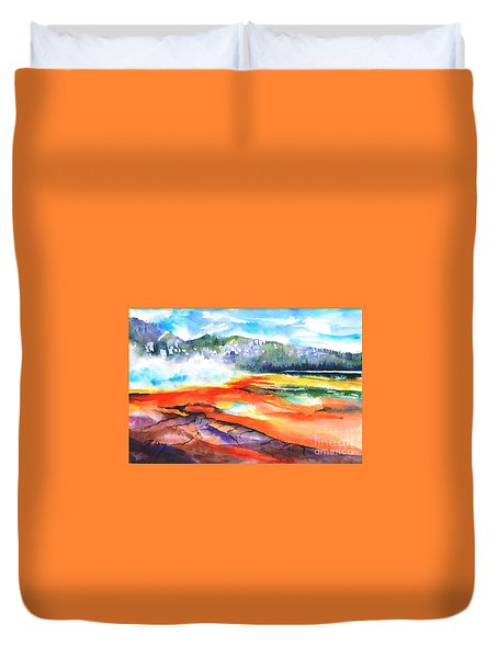 Grand Prismatic Hot Spring Duvet Cover by Betty M M Wong