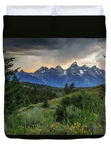 Duvet Cover featuring the photograph Grand Stormy Sunset by David Chandler