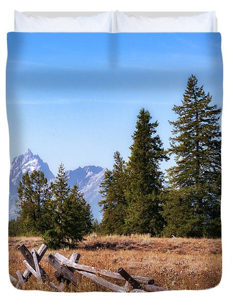 Grand Teton And Fence Duvet Cover