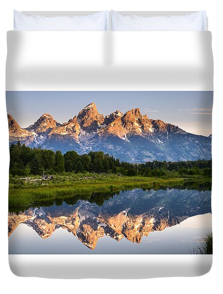 Duvet Cover featuring the photograph Grand Teton Awakening by Dan Mihai