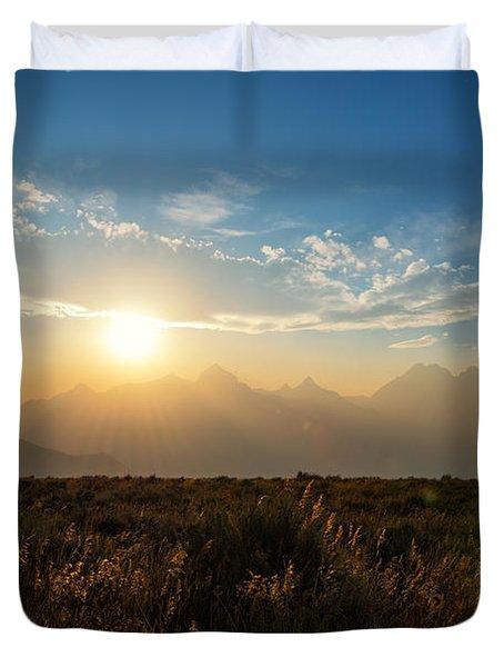 Grand Teton Hazy Sunset  Duvet Cover