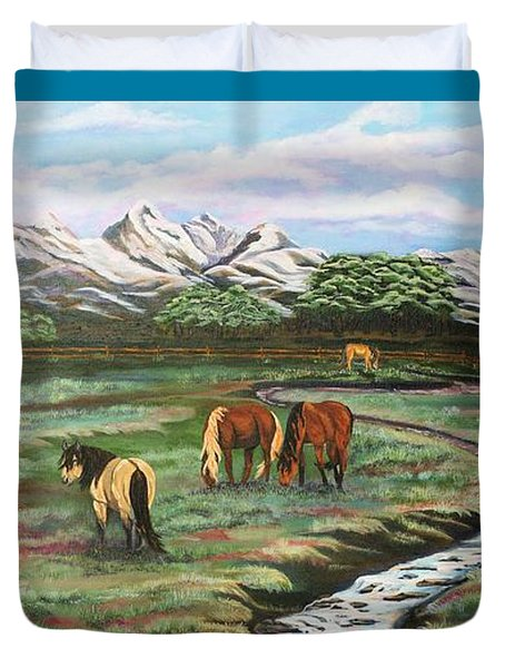 Duvet Cover featuring the painting Grand Teton Mountains by Michelle Joseph-Long