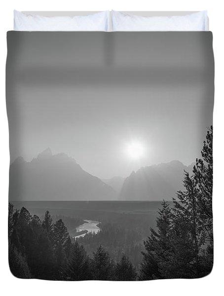 Grand Teton National Park Bw Duvet Cover