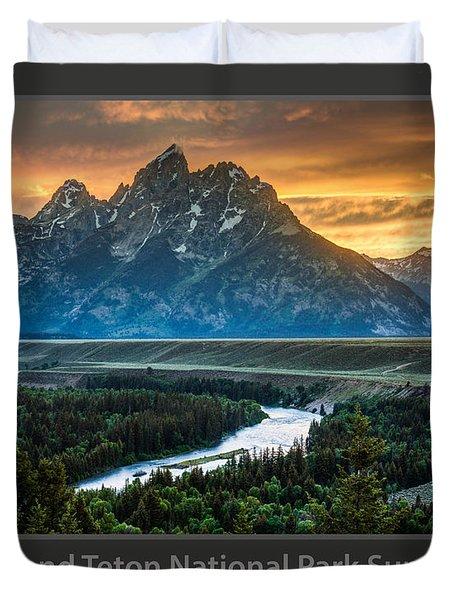 Grand Teton National Park Sunset Poster Duvet Cover by Gary Whitton