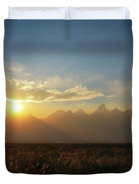 Grand Teton Open Plains Sunset Duvet Cover