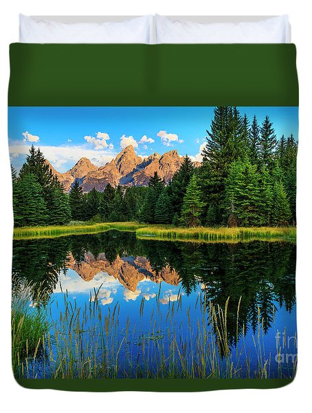 Grand Teton Reflections In Snake River Duvet Cover